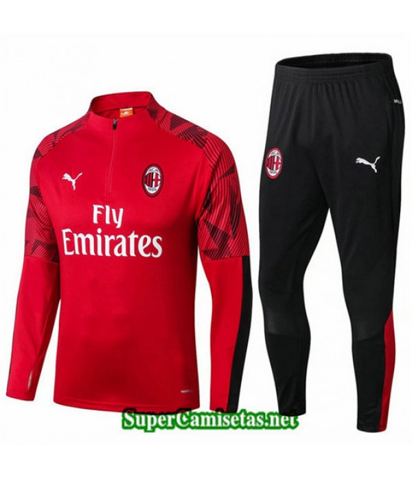 Chandal AC Milan Rojo Rojo sweat zippe 2019/20