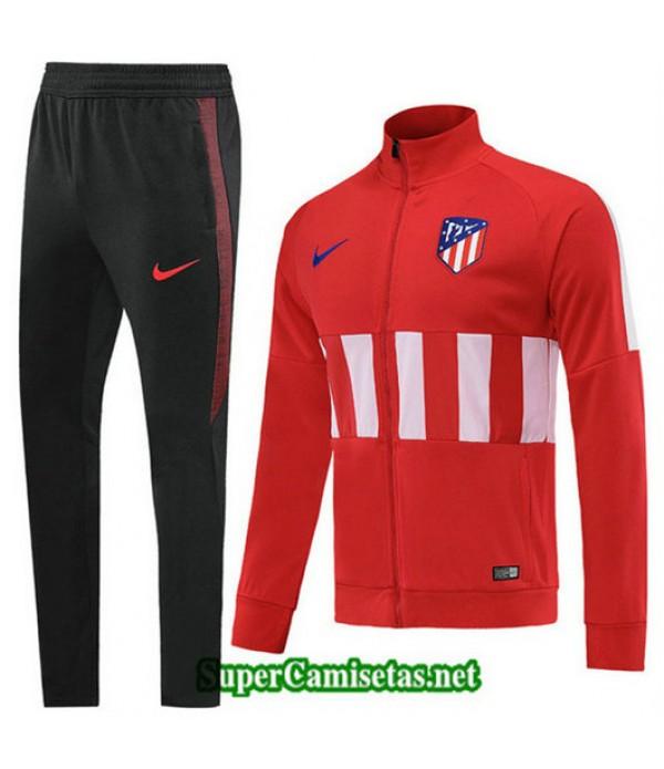 Chandal Atletico de Madrid Chaqueta Rojo/Blanco + Pantalón Negro Rojo/Blanco + Pantalón Negro Cuello alto 2019/20