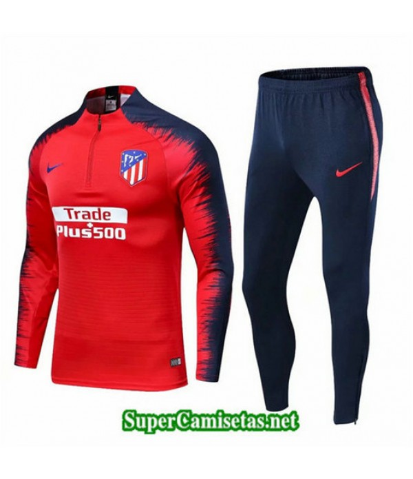 Chandal Atletico de Madrid Rojo + Pantalón Azul Rojo + Pantalón Azul Presion De Acero 2019/20