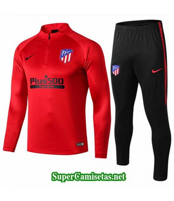 Chandal Atletico de Madrid Rojo + Pantalón Negro Rojo + Pantalón Negro 2019/20