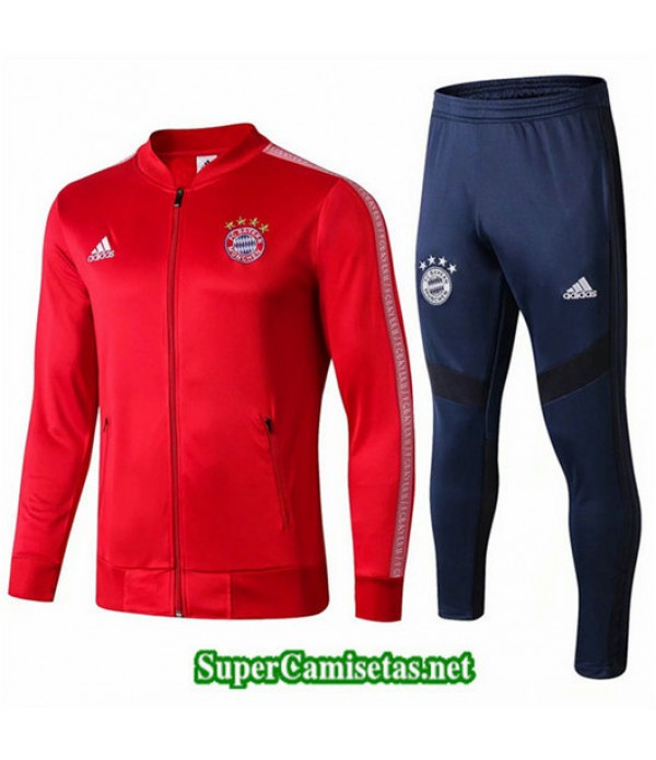 Chandal Bayern Munich Chaqueta Rojo + Pantalón Azul Rojo + Pantalón Azul Cuello bajo 2019/20