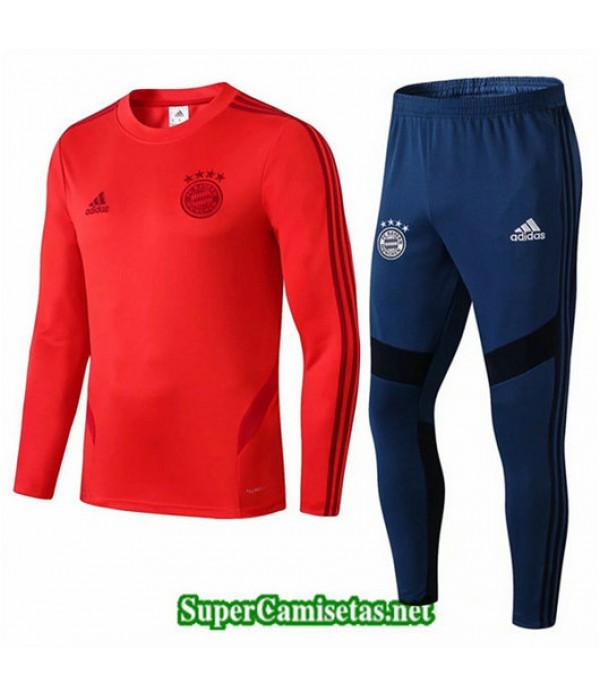 Chandal Bayern Munich Rojo + Pantalón Azul Rojo + Pantalón Azul Cuello redondo 2019/20