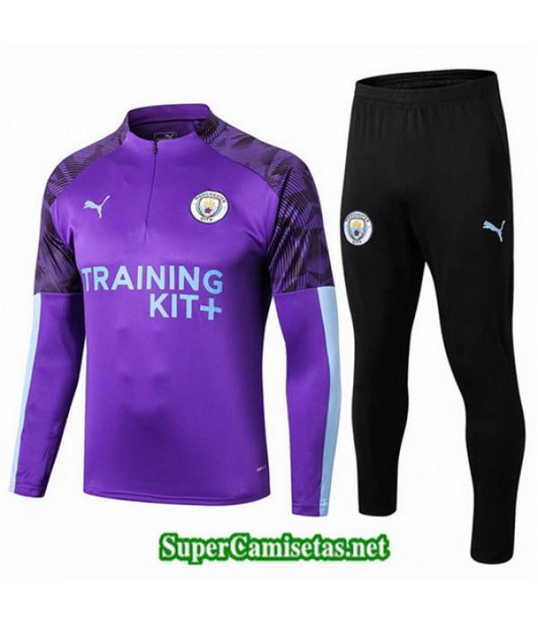 Chandal Manchester City Púrpura + Pantalón Negro Púrpura + Pantalón Negro 2019/20