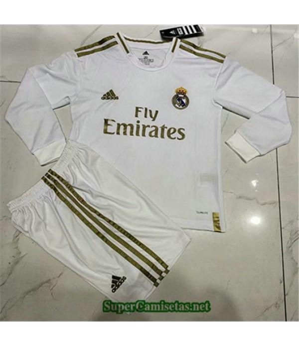 Primera Equipacion Camiseta Real Madrid Ninos Manga Larga 2019/20