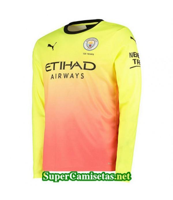 Tercera Equipacion Camiseta Manchester City Amarillo Rosa Manga Larga 2019/20