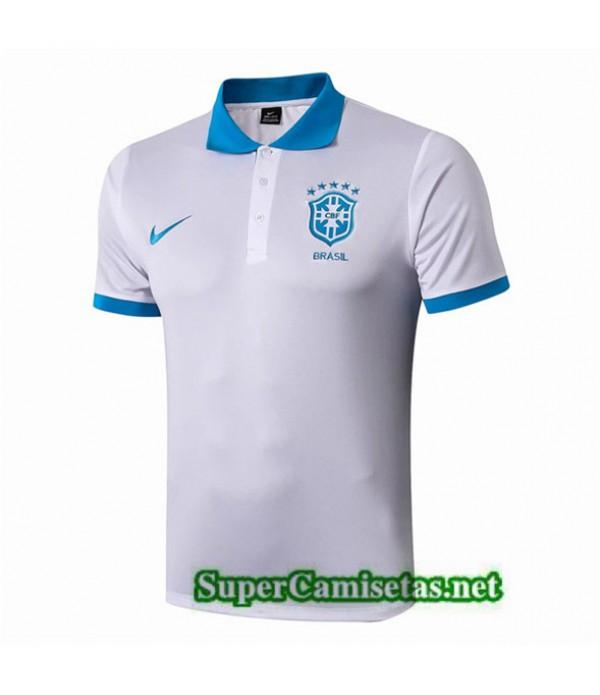 Tailandia Camiseta Brasil Polo Equipacion Blanco/negro/azul 2019/20