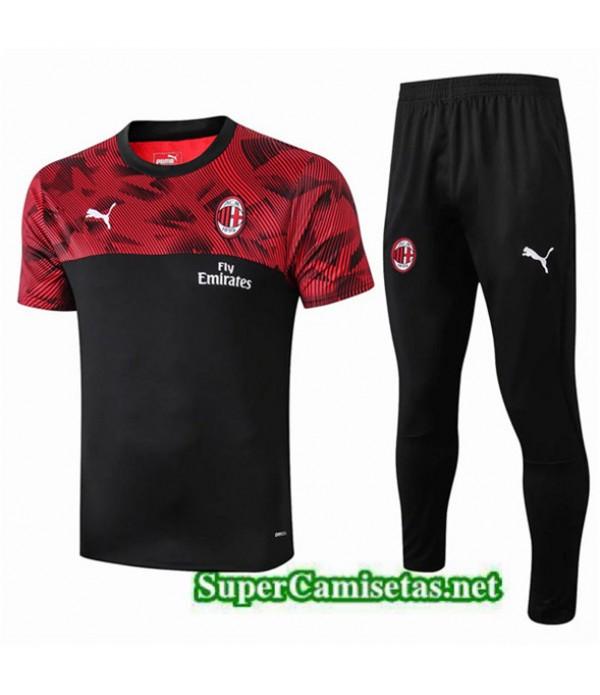 Tailandia Camiseta Kit De Entrenamiento Ac Milan Equipacion Negro/rojo 2019/20