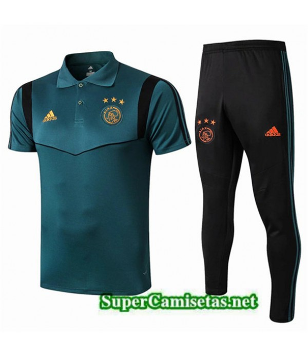 Tailandia Camiseta Kit De Entrenamiento Ajax Polo Equipacion Verde/negro 2019/20