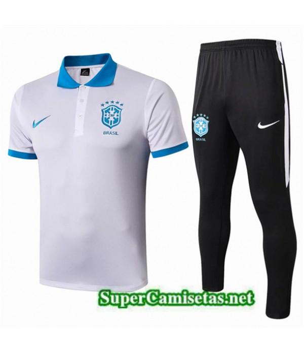 Tailandia Camiseta Kit De Entrenamiento Brasil Polo Equipacion Blanco/negro/azul 2019/20