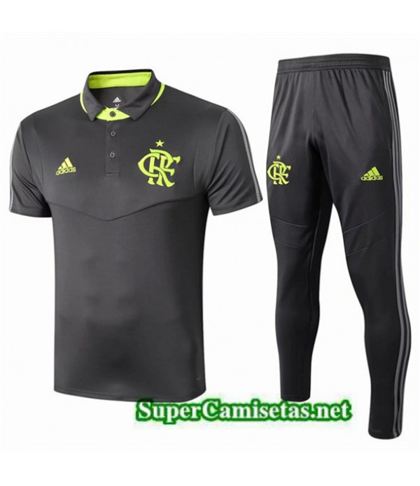 Tailandia Camiseta Kit De Entrenamiento Flamengo Polo Equipacion Negro 2019/20