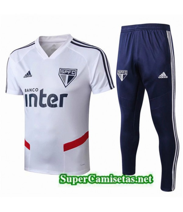 Tailandia Camiseta Kit De Entrenamiento Sao Paulo Equipacion Blanco/azul 2019/20
