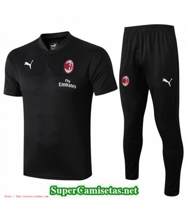 Tailandia Camiseta Entrenamiento Ac Milan Negro Cuello Redondo 2019/20