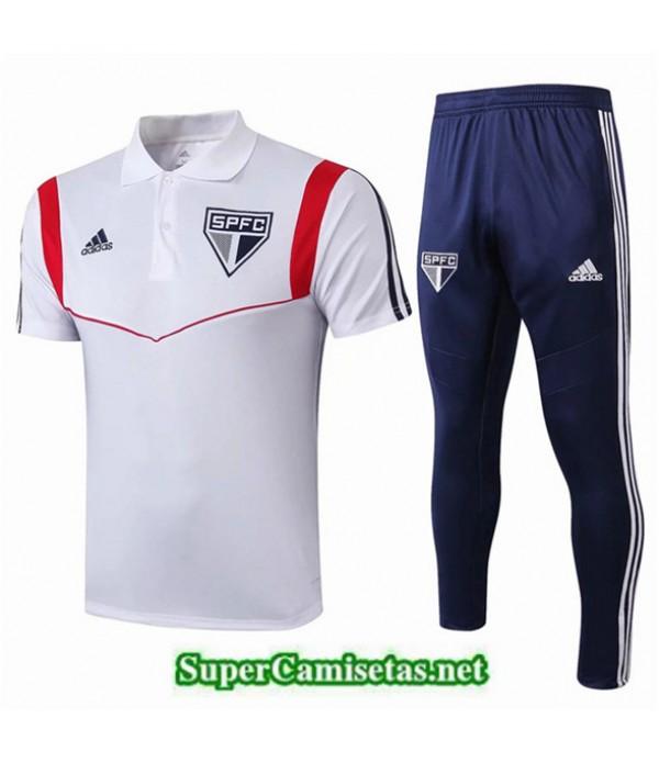 Tailandia Camiseta Polo Entrenamiento Sao Paulo Blanco/azul Oscuro 2019/20