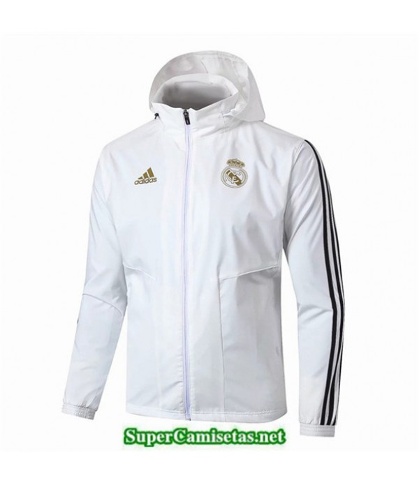 Tailandia Camiseta Real Madrid Rompevientos Blanco/negro Sombrero 2019/20