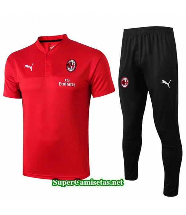 Tailandia Camiseta Kit De Entrenamiento Ac Milan V255 Rojo/negro Cuello V 2019/20