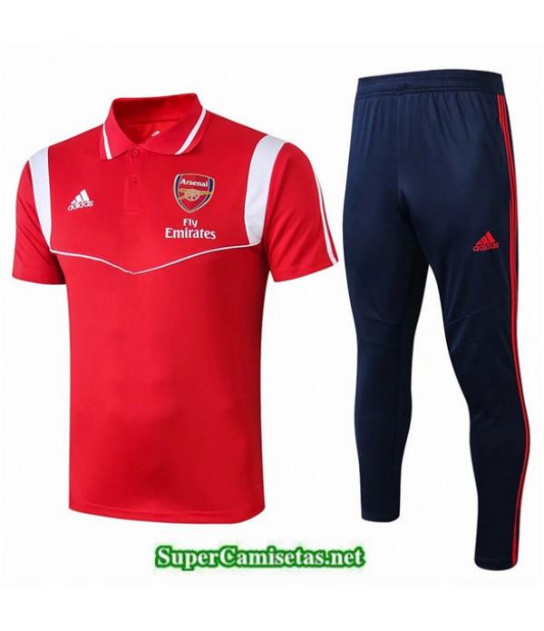 Tailandia Camiseta Kit De Entrenamiento Arsenal Polo V236 Rojo/azul Oscuro 2019/20