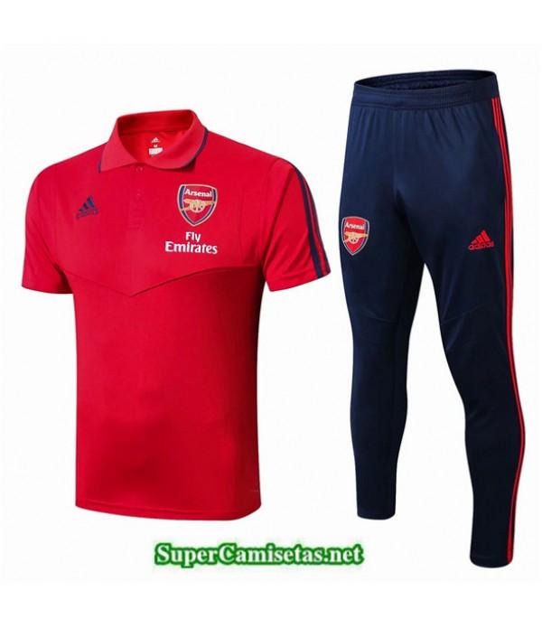 Tailandia Camiseta Kit De Entrenamiento Arsenal Polo V237 Rojo/azul Oscuro 2019/20