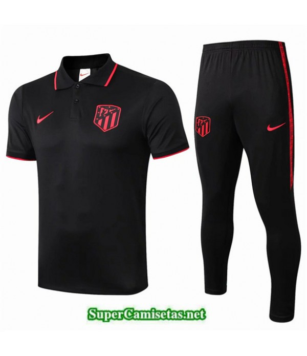 Tailandia Camiseta Kit De Entrenamiento Atletico Madrid Polo V207 Negro/banda Rojo 2019/20