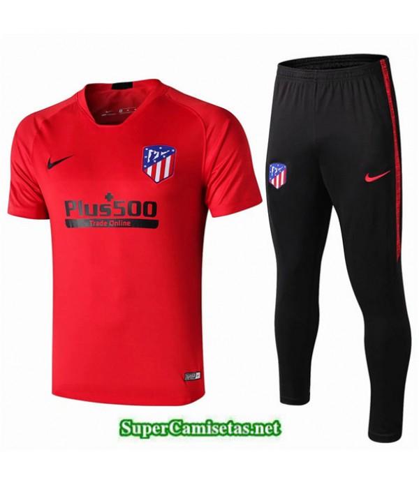 Tailandia Camiseta Kit De Entrenamiento Atletico Madrid V208 Rojo/negro Cuello V 2019/20