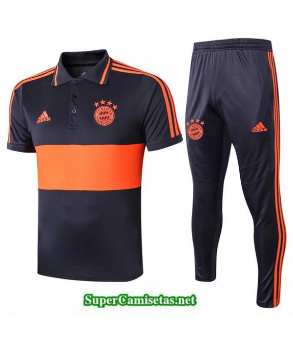 Tailandia Camiseta Kit De Entrenamiento Bayern Munich Polo V202 Azul Oscuro/naranja Banda Amarillo 2019/20