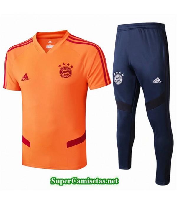 Tailandia Camiseta Kit De Entrenamiento Bayern Munich V201 Naranja/azul Oscuro Cuello V 2019/20