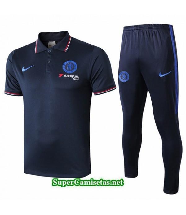Tailandia Camiseta Kit De Entrenamiento Chelsea Polo V241 Azul Oscuro 2019/20