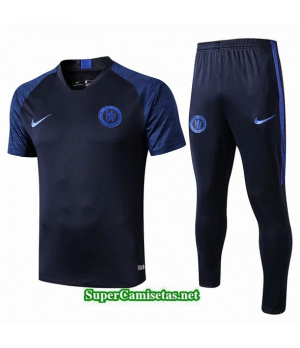 Tailandia Camiseta Kit De Entrenamiento Chelsea V242 Azul Oscuro Cuello V 2019/20