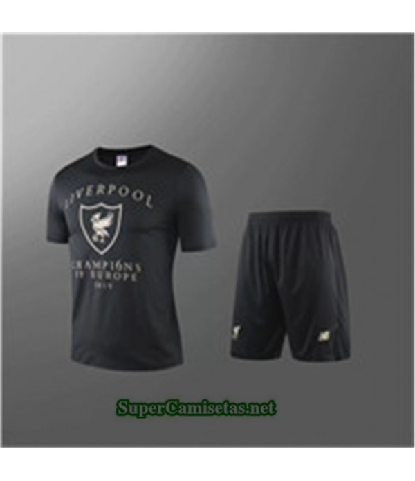Tailandia Camiseta Kit De Entrenamiento Liverpool V246 Negro Cuello Redondo 2019/20