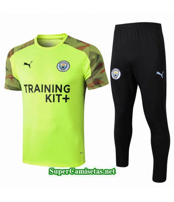 Tailandia Camiseta Kit De Entrenamiento Manchester City V249 Verde/negro Cuello Redondo 2019/20