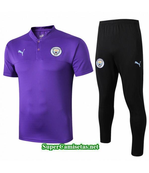 Tailandia Camiseta Kit De Entrenamiento Manchester City V251 Púrpura/negro Cuello V 2019/20