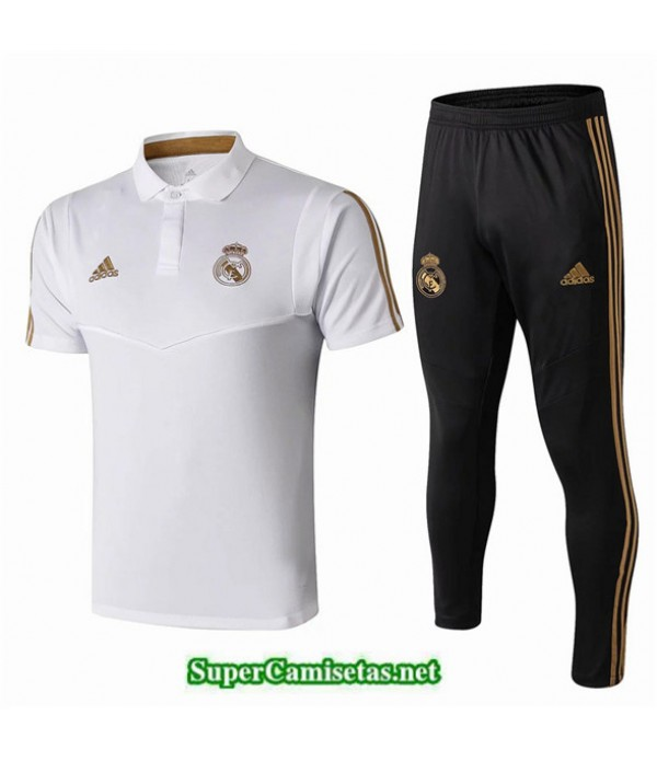 Tailandia Camiseta Kit De Entrenamiento Real Madrid Polo V214 Blanco/negro 2019/20