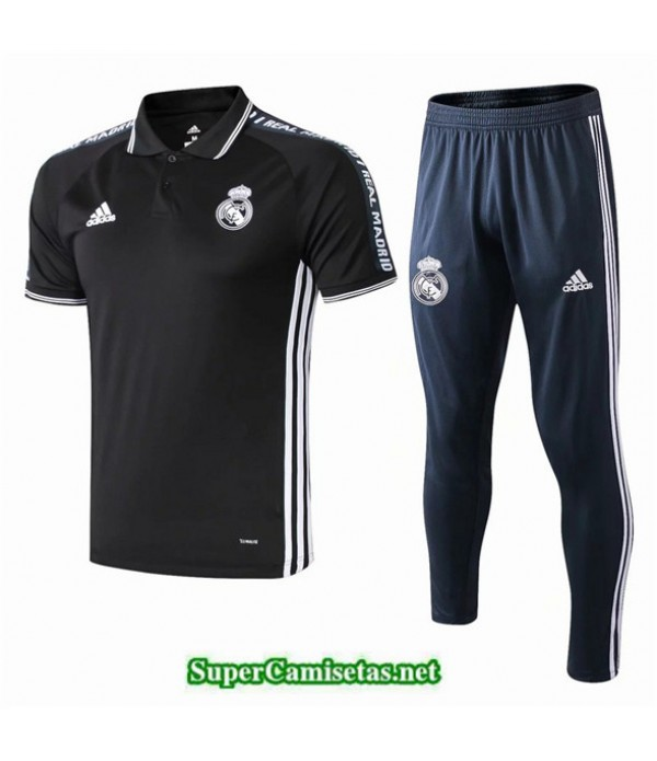 Tailandia Camiseta Kit De Entrenamiento Real Madrid Polo V216 Negro 2019/20