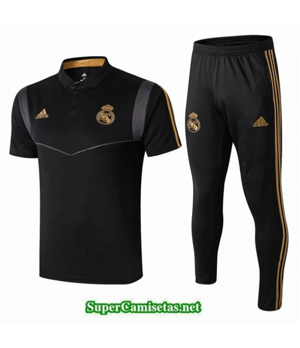 Tailandia Camiseta Kit De Entrenamiento Real Madrid Polo V217 Negro 2019/20