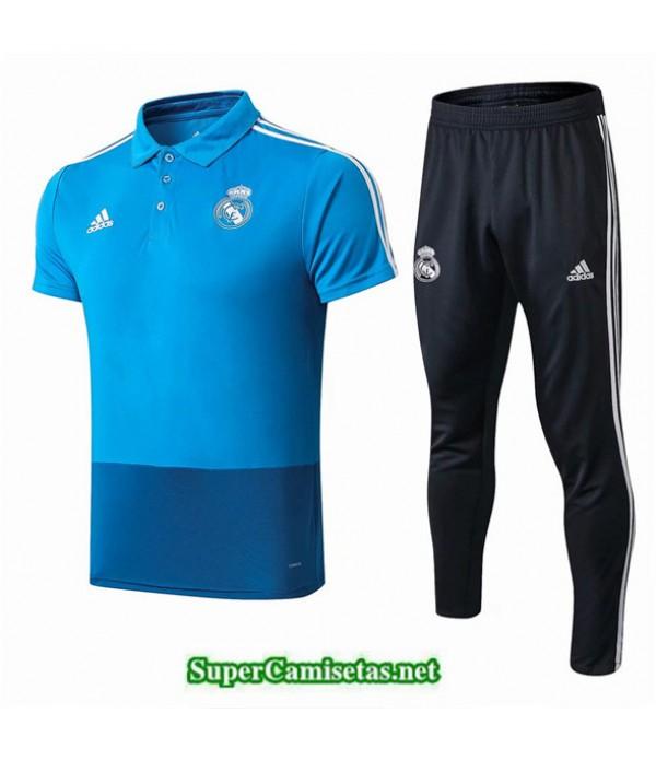 Tailandia Camiseta Kit De Entrenamiento Real Madrid Polo V218 Azul/negro 2019/20