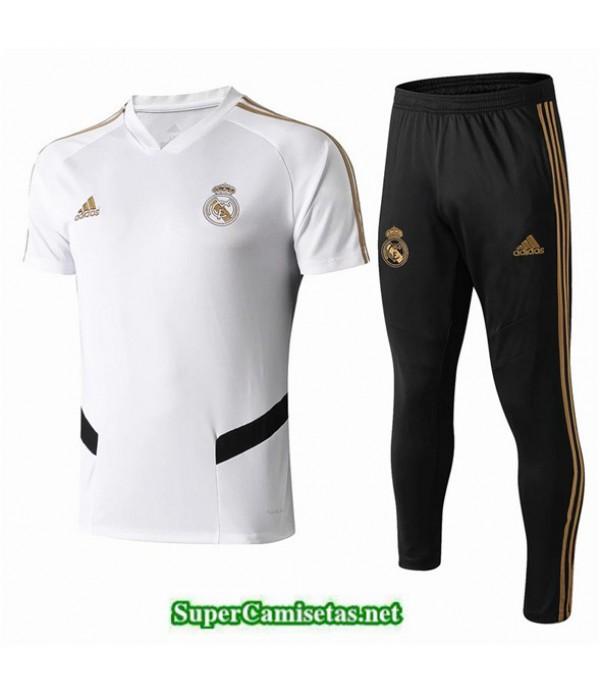 Tailandia Camiseta Kit De Entrenamiento Real Madrid V213 Blanco/negro Cuello V 2019/20