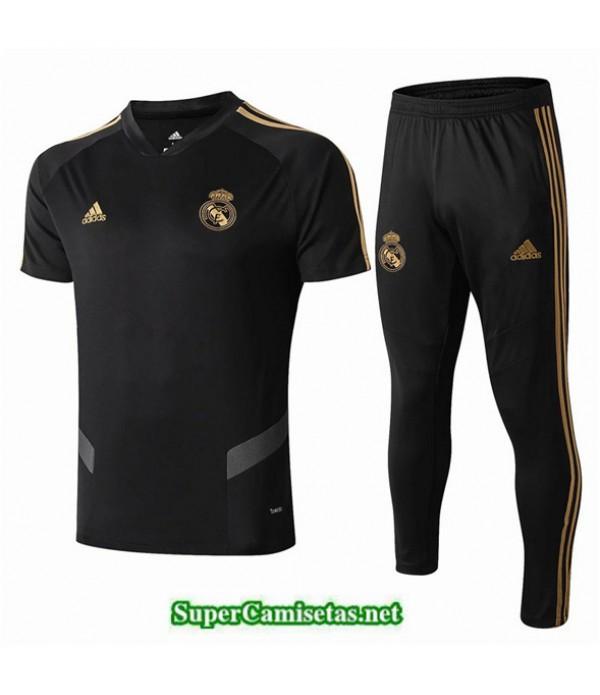 Tailandia Camiseta Kit De Entrenamiento Real Madrid V215 Negro Cuello V 2019/20