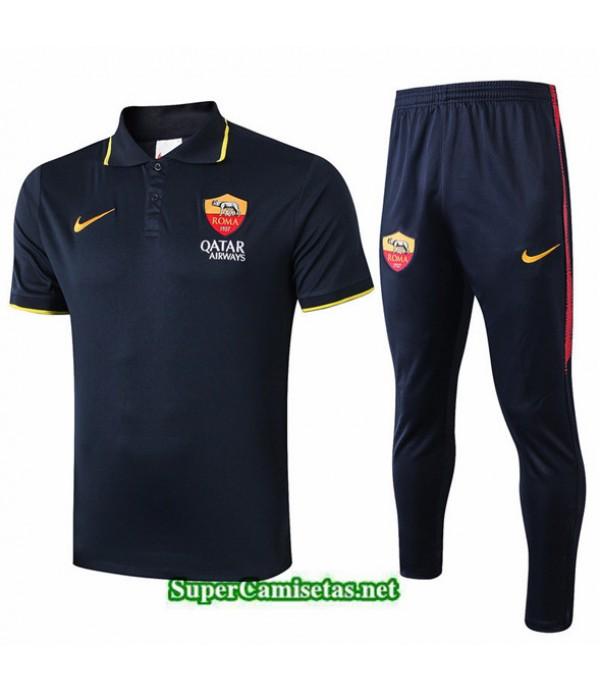 Tailandia Camiseta Kit De Entrenamiento Roma Polo V256 Azul Oscuro 2019/20