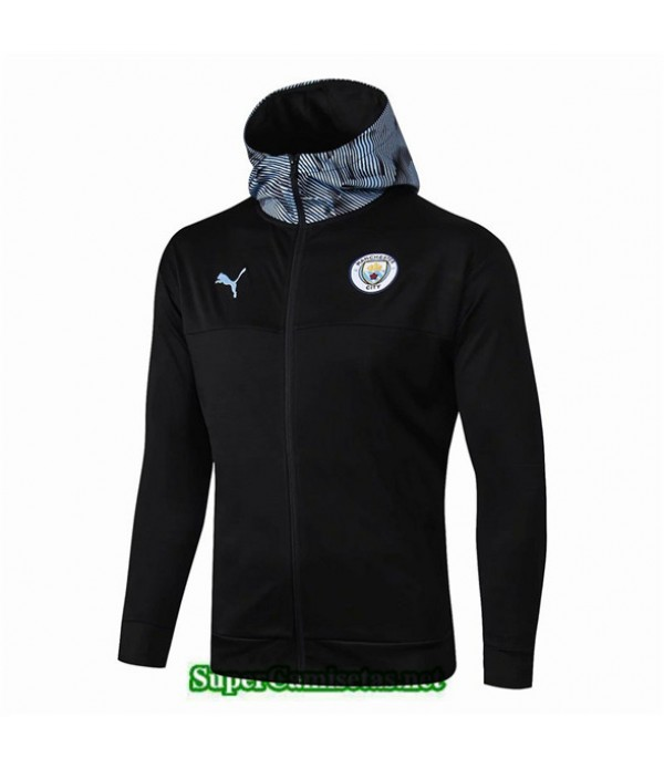 Tailandia Camiseta Manchester City Chaqueta Sombrero V320 Negro/azul 2019/20