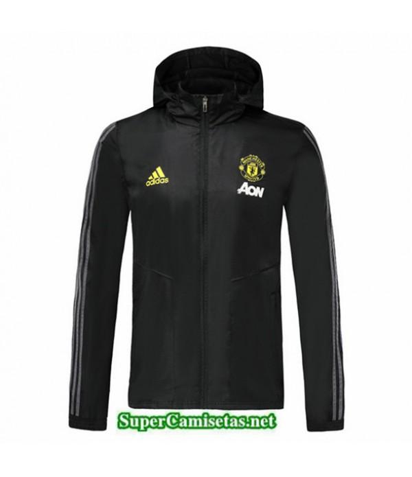 Tailandia Camiseta Manchester United Chaqueta Rompevientos Sombrero V327 Black 2019/20
