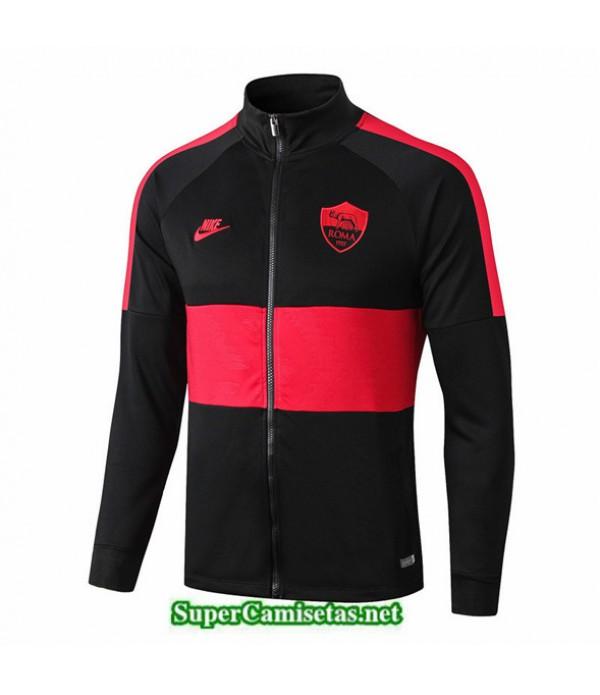 Tailandia Camiseta Roma Chaqueta V339 Negro/banda Rojo 2019/20