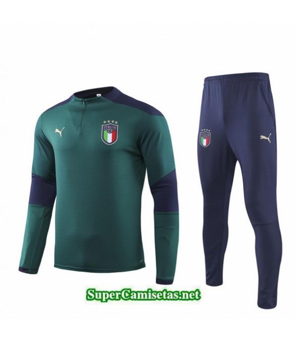 Tailandia Chandal Italy V022 Verde Cremallera Mitad 2019/20