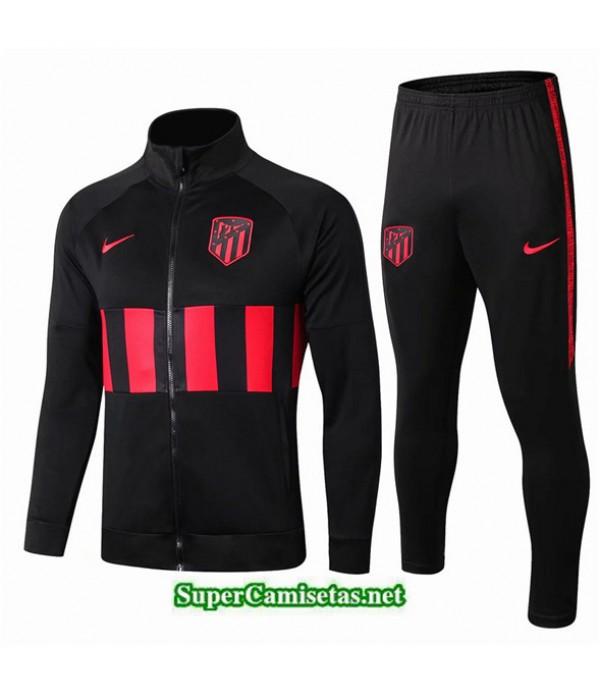Tailandia Chaqueta Chandal Atletico Madrid V028 Negro/banda Rojo 2019/20