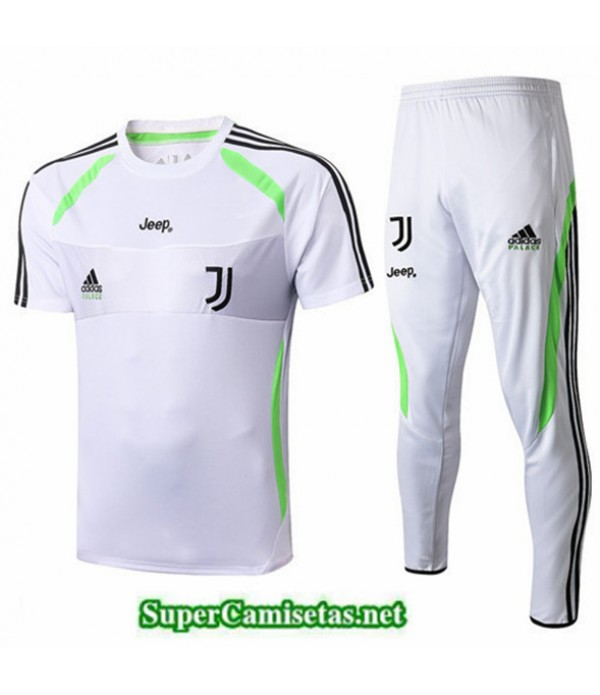 Tailandia Camiseta Kit De Entrenamiento Juventus Blanco/banda Verde 2019/20