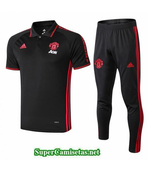 Tailandia Camiseta Kit De Entrenamiento Manchester United Polo Negro/banda Roja 2019/20