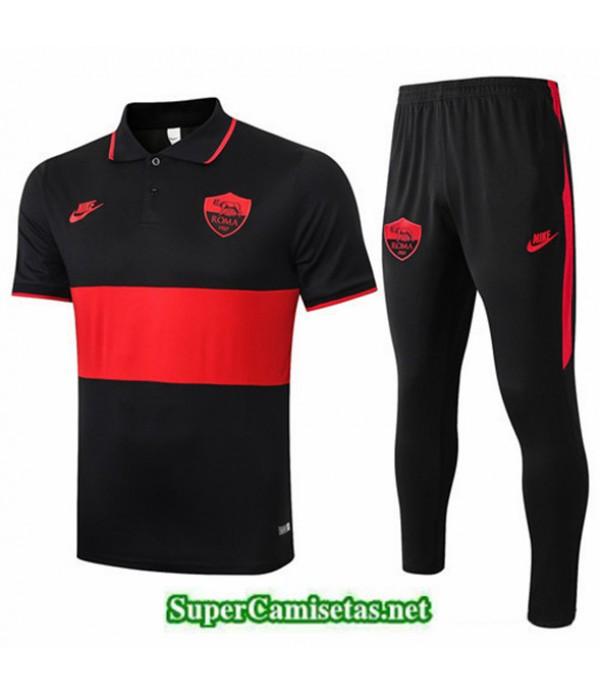 Tailandia Camiseta Kit De Entrenamiento As Roma Polo Negro/rojo 2019/20