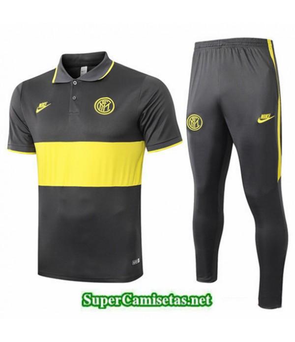 Tailandia Camiseta Kit De Entrenamiento Inter Milan Polo Negro/amarillo 2019/20