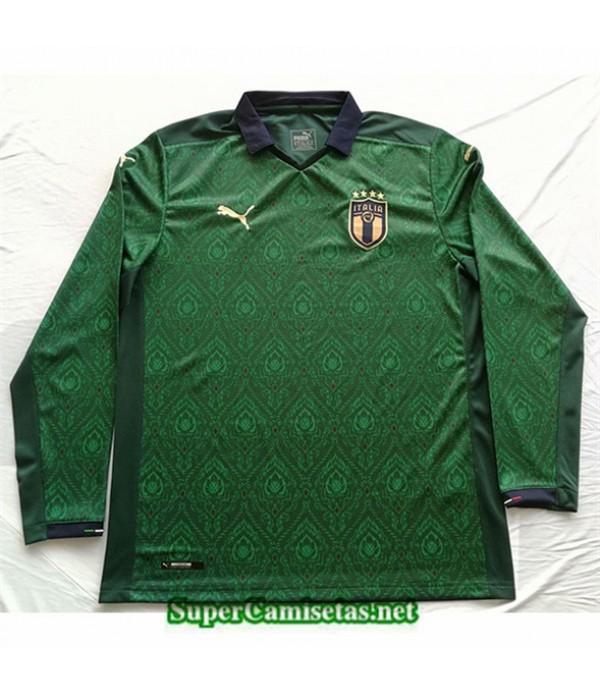Tailandia Segunda Equipacion Camiseta Italia Manga Larga Verde 2020/21
