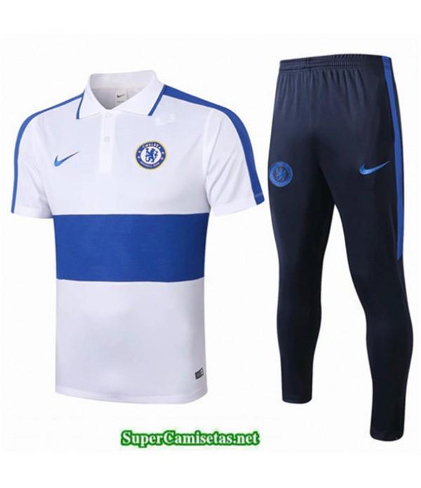 Tailandia Camiseta Kit De Entrenamiento Chelsea Polo Blanco/azul 2019/20