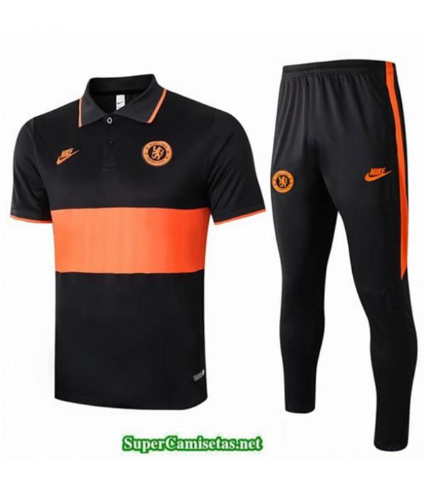 Tailandia Camiseta Kit De Entrenamiento Chelsea Polo Negro/naranja 2019/20