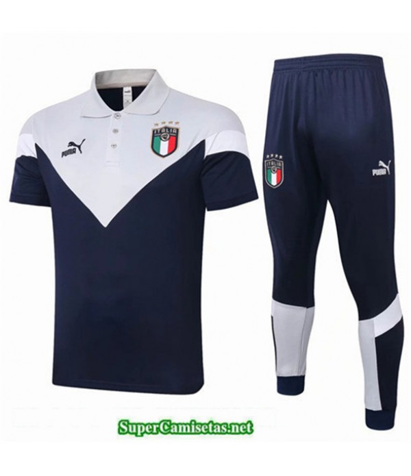 Tailandia Camiseta Kit De Entrenamiento Italia Polo Azul Marino/blanco 2020/21